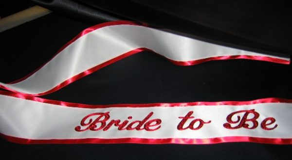 BBBridetobe 600x330 - $49 Basic Chain Stitch Embroidered Sash With Satin Border