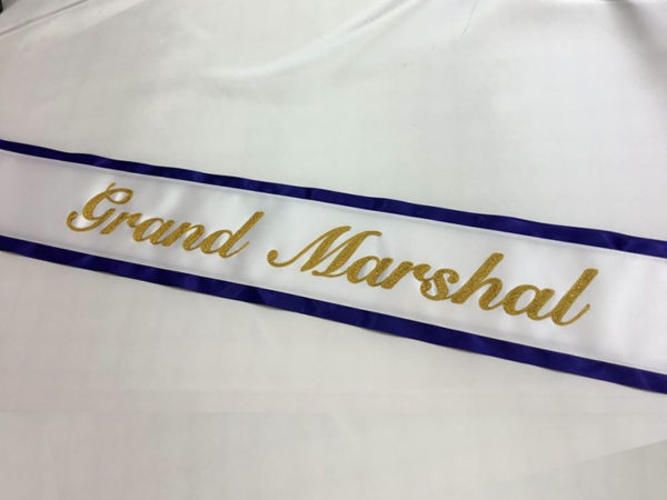 Basic Embroidered Sash With Border 600x450 - $49 Basic Chain Stitch Embroidered Sash With Satin Border