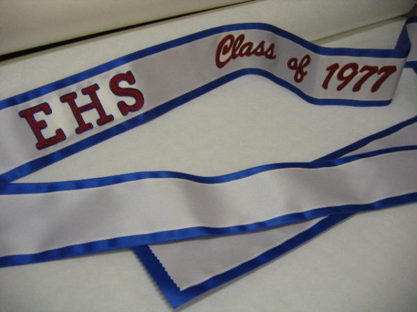 High school banner 1 600x450 - $49 Basic Chain Stitch Embroidered Sash With Satin Border
