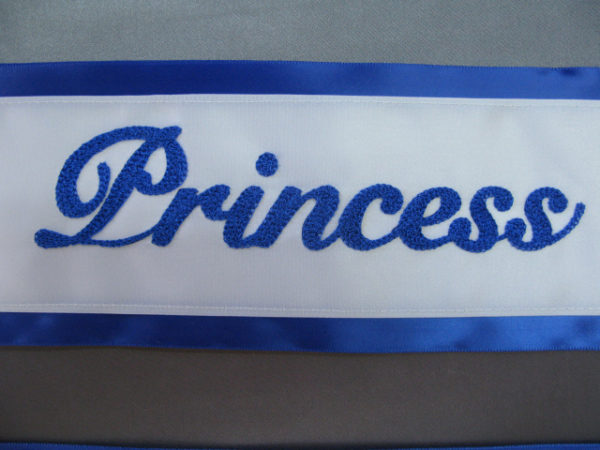 IMG 5569 600x450 - $49 Basic Chain Stitch Embroidered Sash With Satin Border