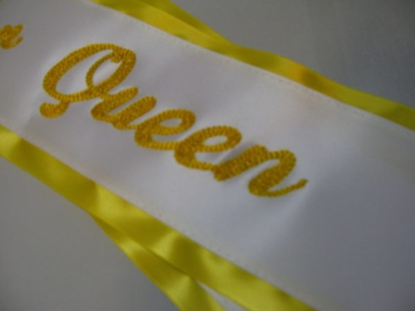 Queen Sash 600x450 - $49 Basic Chain Stitch Embroidered Sash With Satin Border