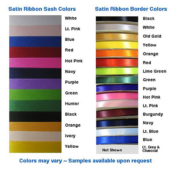 Satin Ribbon Sash Colors 600x561 - $49 Basic Chain Stitch Embroidered Sash With Satin Border