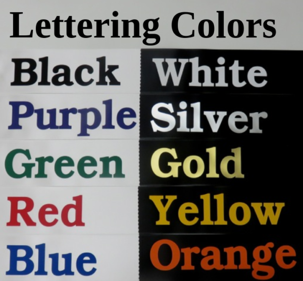 Vinyl Lettering Colors 600x557 - $19 Lettered Economy All Occasion Sash With Silver or Gold Edging